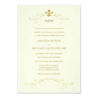 Champagne White and Gold Fleur de Lis Wedding 5x7 Paper Invitation Card