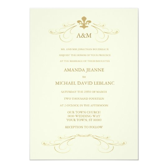 Champagne White and Gold Fleur de Lis Wedding Invitation | Zazzle.com