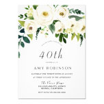 Champagne White Floral Elegant 40th Birthday Party Invitation