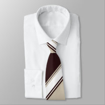 Champagne Wine and Milk Alternating Striped Tie