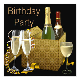 Champagne Wine Glasses Black Gold Birthday Party Card