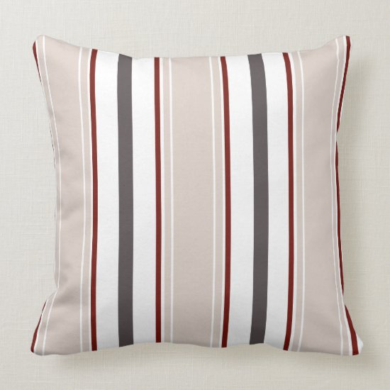 Champagne Wine Gray White Vertical Stripes  | Throw Pillow