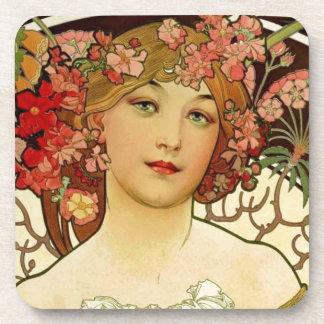 Champagne Woman 1897 - F. Champenois Imprimeur Drink Coaster