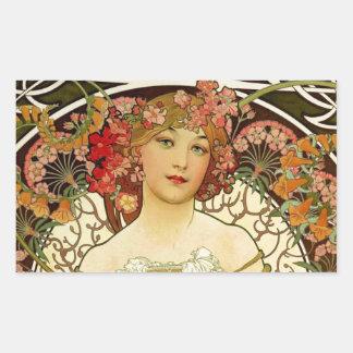 Champagne Woman 1897 - F. Champenois Imprimeur Rectangular Sticker
