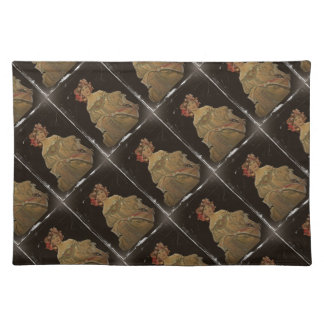 Champagne Woman on Black Cloth Placemat