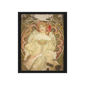 Champagne Woman with Magazine Canvas Print