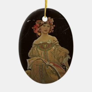 Champagne Woman with Magazine Ceramic Ornament