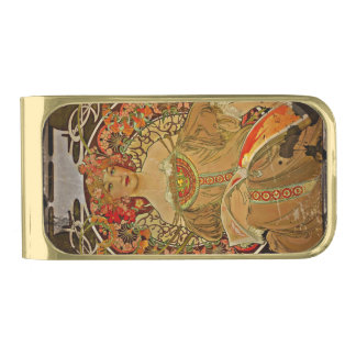 Champagne Woman with Magazine Gold Finish Money Clip