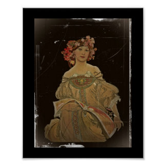 Champagne Woman with Magazine Poster