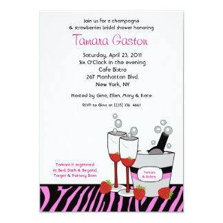 "Champagne Zebra Stripe Bridal Shower Invite 5"" X 7"" Invitation Card"