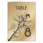 ChampagneGold LoveBirds Tree Wedding Table Number Greeting Card