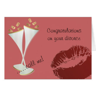 Champaign and Lipstick Divorce Greeting Card