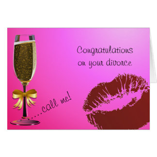 Champaign Flute and Lipstick Divorce Greeting Card