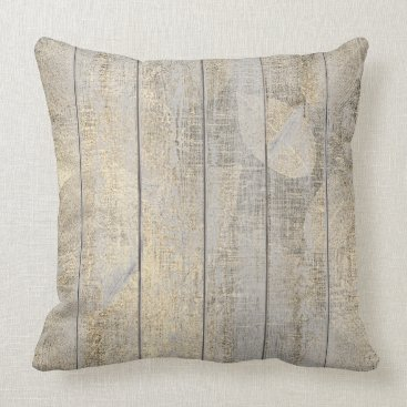 Champaign Golden Leaf Botanic Wood Cottage Home Throw Pillow