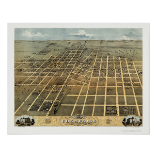 Champaign, IL Panoramic Map - 1869 Poster