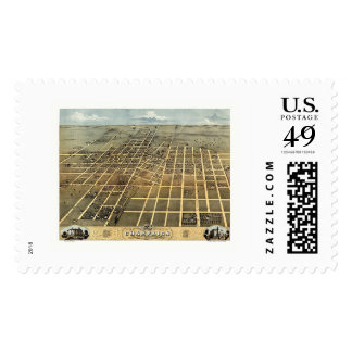 Champaign, IL Panoramic Map - 1869 Stamp