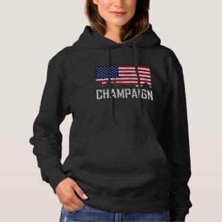 Champaign Illinois Skyline American Flag Distresse Hoodie