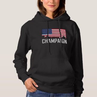 Champaign Illinois Skyline American Flag Hoodie
