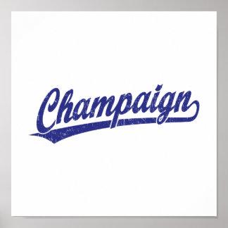 Champaign script logo in blue print