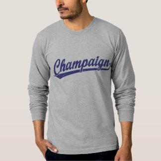 Champaign script logo in blue t-shirt