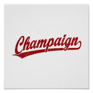 Champaign script logo in red posters