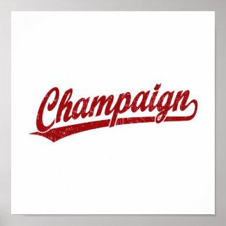 Champaign script logo in red poster