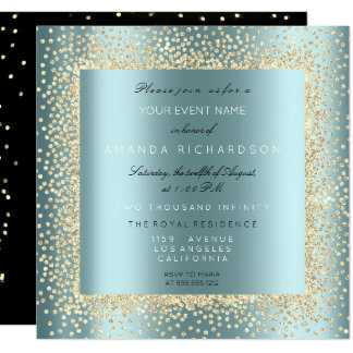 Champaigne Gold Glitter Black Aqua Tiffany Confett Invitation