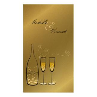 Champán burbujea de oro le agradece etiqueta del r tarjeta personal