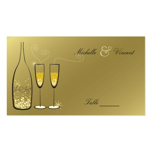 Champán burbujea tarjeta de presentación de oro de tarjeta de visita