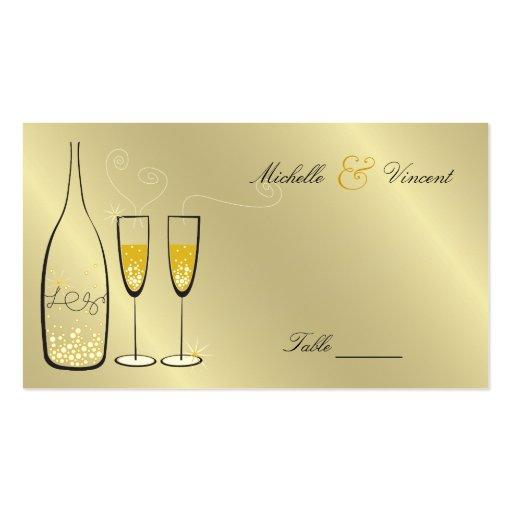 Champán burbujea tarjeta de presentación de oro de tarjetas personales