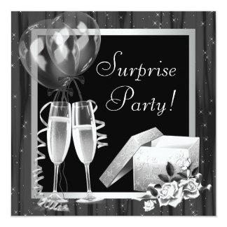 Champán chispea fiesta de sorpresa blanco negro invitación 13,3 cm x 13,3cm