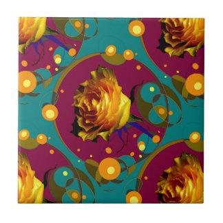 Champán color de rosa de oro burbujea los regalos azulejo cuadrado pequeño