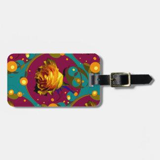 Champán color de rosa de oro burbujea los regalos etiqueta de maleta