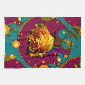 Champán color de rosa de oro burbujea los regalos toallas