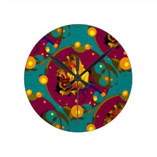 Champán color de rosa de oro burbujea los regalos reloj redondo mediano