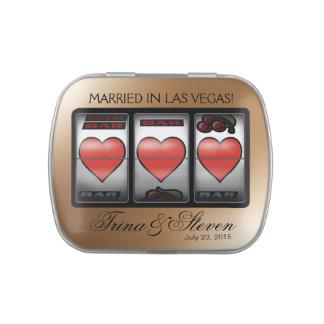Champán del favor del boda del bote de los corazon latas de dulces