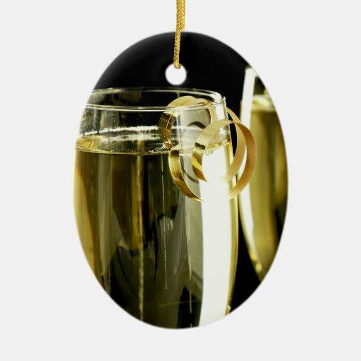 Champán en negro adorno ovalado de cerámica