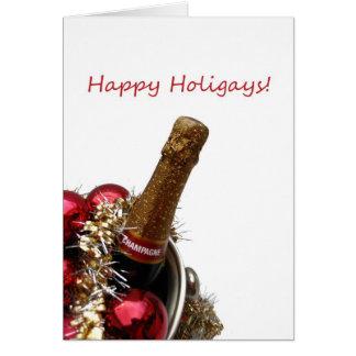 Champán gay feliz de la tarjeta de Navidad de Holi