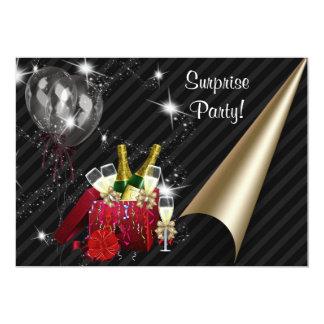 """Champán hincha a la fiesta de cumpleaños negra de invitación 5"""" x 7"""""""
