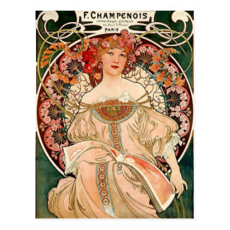 champán rosado - arte Nouveau Postales