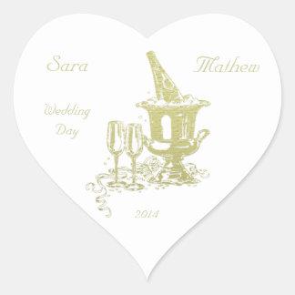 Champán y arte de los vidrios pegatina de corazon personalizadas