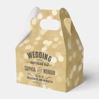 Champán y equipo de supervivencia gris del boda cajas para regalos de boda