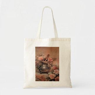 Champán y rosas bolsa tela barata