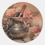 Champán y rosas etiquetas redondas