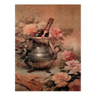 Champán y rosas postal