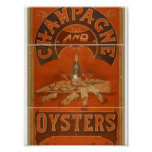 Champán y teatro del vintage de las ostras posters