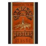 Champán y teatro del vintage de las ostras tarjeta