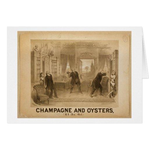 Champán y teatro retro de las ostras tarjetas