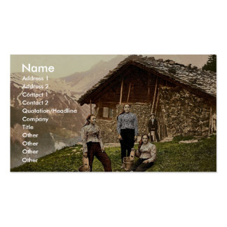 Champery a woman of Champery Valais Alps of Sw Business Card Templates