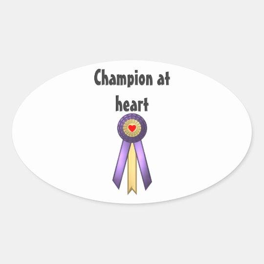 Champion at Heart (Rosette) Oval Sticker